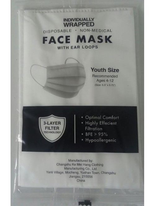 Individually Wrapped Disposable Facemasks - Youth ...