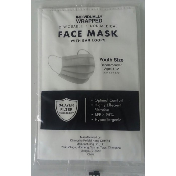 Individually Wrapped Disposable Facemasks - Youth Size Ages 4-12