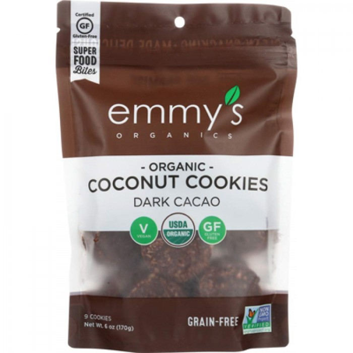 Emmys Organic Coconut Cookies Dark Cacao