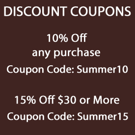 Save 10% code Summer10, Save 15% on $30 code Summer15